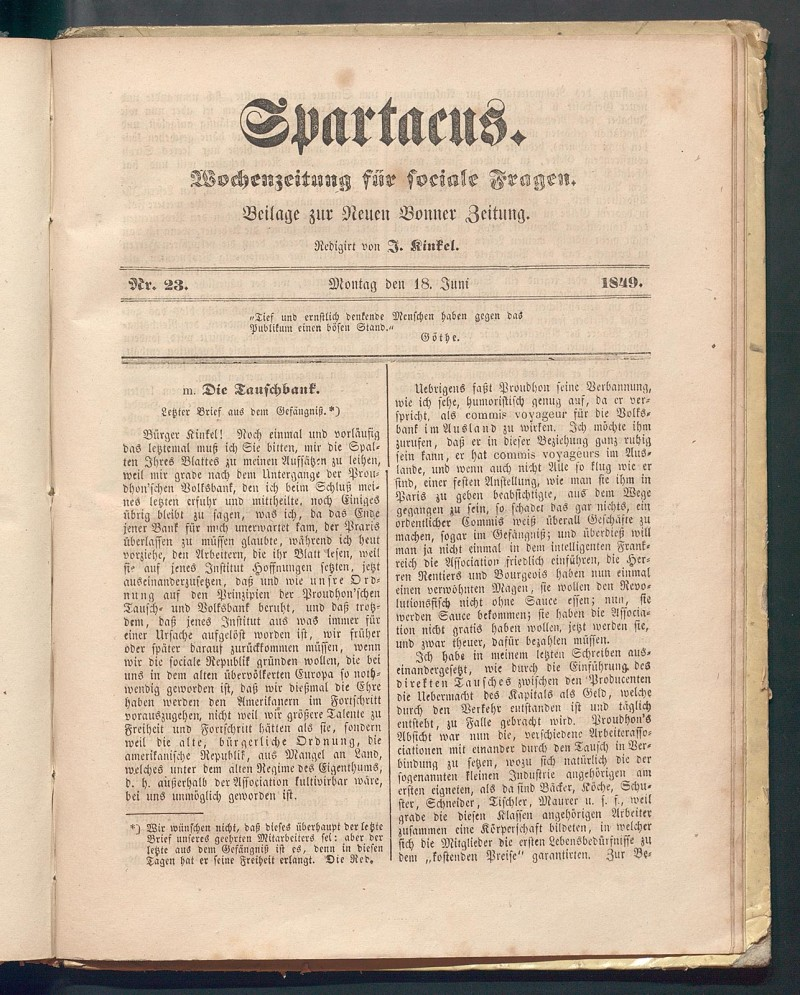 Anonymous article by Arnold for the weekly Spartacus on the need for an economic system characterized by socialist solidarity. © Universitäts- und Landesbibliothek Bonn.