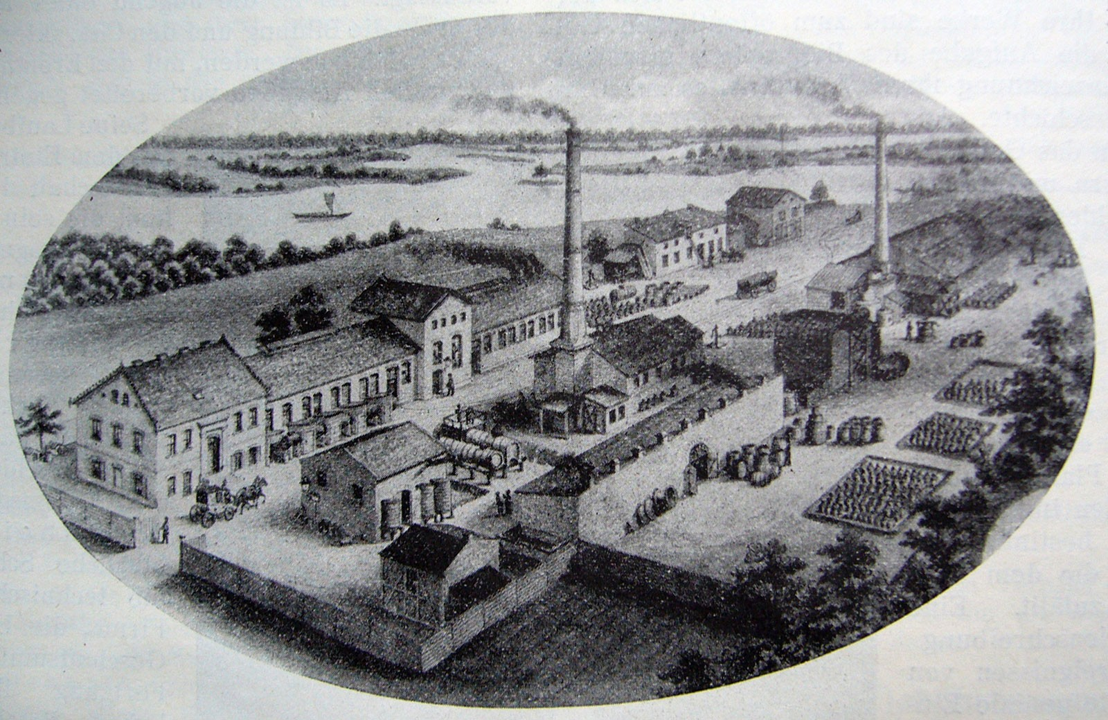 The aniline factory compound in Rummelsburg near Berlin in 1877.  Image: private collection.