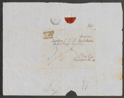 Envelope from Beirut for a letter to Arnold's father Nathan Mendelssohn dated March 20th, 1851 © Mendelssohn-Gesellschaft.